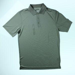 Mens Golf DriFit Stripe Polo Shirt Grey White NWOT